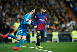 March 2, 2019 - Madrid, MADRID, SPAIN - Thibaut Courtois of Real Madrid and Lionel (Leo) Messi of FC Barcelona during the spanish league, La Liga, football match played between Real Madrid and FC Barcelona at Santiago Bernabeu Stadium in Madrid, Spain, on March 02, 2019. (Credit Image: © AFP7 via ZUMA Wire)