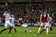 Pedro Obiang of West Ham © scores West Ham united's  first goal of the game.  Premier league match, West Ham Utd v Huddersfield Town at the London Stadium, Queen Elizabeth Olympic Park in London on Monday 11th September 2017.<br /> pic by Kieran Clarke, Andrew Orchard sports photography.