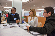 Purchase, NY – 31 October 2014. Ossining High School team members Senai Motley, Dayanna Rios, and Daniel Magistro. The Business Skills Olympics was founded by the African American Men of Westchester, is sponsored and facilitated by Morgan Stanley, and is open to high school teams in Westchester County.