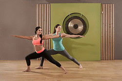 Two women practicing yoga exercise fitness