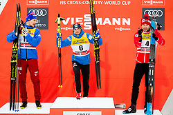 January 6, 2018 - Val Di Fiemme, ITALY - 180106 Andrey larkov of Russia, Alexey Poltoranin of Kazakhstan and Alex Harvey of Canada on the podium after men's 15km mass start classic technique during Tour de Ski on January 6, 2018 in Val di Fiemme..Photo: Jon Olav Nesvold / BILDBYRN / kod JE / 160122 (Credit Image: © Jon Olav Nesvold/Bildbyran via ZUMA Wire)