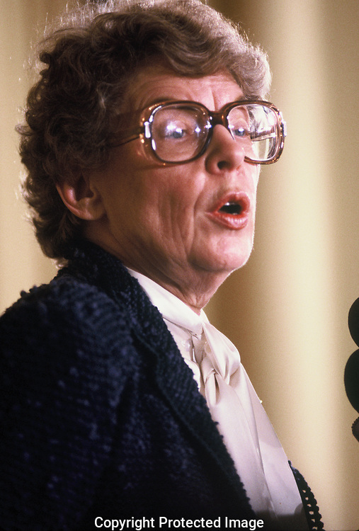 Jeane Kirkpatrick,US Ambassador to the United Nations,speaks to the Society  of International Law  in April 1984<br /> Photo by Dennis Brack