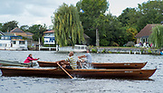 Walton, Great Britain,  Men's Single,  at the start, moving away from the Stake Boats, Walton Reach Regatta, Walton on Thames, Skiff and Punting Regatta  <br /> <br /> Saturday  19/08/2017<br /> <br /> [Mandatory Credit. Peter Spurrier/Intersport Images] River Thames .......... Summer, Sport, Sunny, Bright, Blue Skies, Skilful,