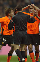 15/2/2004 Madrid, Spain.<br />La Liga (Spanish League), stage 24.<br />R.Madrid 1 - Valencia 1<br />Valencia's Baraja dissapointed with referee at Santiago Bernabeu's Stadium.<br />© 2004 Alejandro leon Fernandez