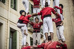 November 20, 2016 - Barcelona, Catalonia, Spain - The 'Castellers de Barcelona' build a human tower during a 'diada castellera' at Barcelona's Gracia quarter (Credit Image: © Matthias Oesterle via ZUMA Wire)
