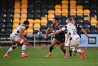 Rugby Union - 2019 / 2020 Gallagher Premiership - Worcester Warriors vs Bristol Bears<br /> <br /> Worcester Warriors' Melani Nanai offloads to Worcester Warriors' Tom Howe, at Sixways.<br /> <br /> COLORSPORT/ASHLEY WESTERN