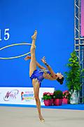 Harutyunyan Lilit during qualifying at hoop in Pesaro World Cup 10 April 2015. Lilit is an Armenian rhythmic gymnastics athlete born May 5, 1995 in Erevan, Armenia.