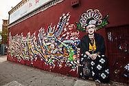 Street art in Los Angeles..L.A. has become the new ground zero for avant-guard and cutting edge street and graffiti. Artist from around the world now come to L.A. to post their work..This piece is located on Pico Ave in L.A.'s Pico/Union area.