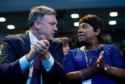 © London News Pictures. 25/09/2013 . Brighton, UK. Shadow Chancellor ED BALLS and DOREEN LAWRENCE listing to Yvette Cooper speak on the last day of the  2013 Labour Party Conference at The Brighton Centre. Photo credit : Ben Cawthra/LNP