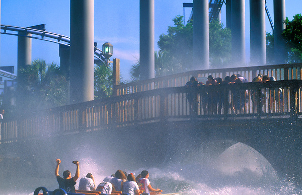 Stock photo of the splashdown on the log ride at AstroWorld.