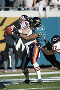 Jacksonville Jaguars linebacker Daryl Smith sacks Chicago Bears quarterback Chad Hutchinson for a safety during the Jaguars 22-3 victory over the Bears on December 12, 2004 at Alltel Stadium in Jacksonville, FL.