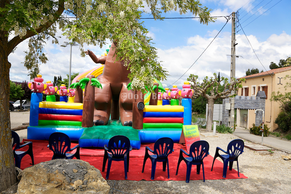 inflatable slide at a village party