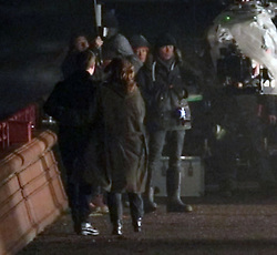EXCLUSIVE: Tom Cruise and Rebecca Ferguson film the final scenes to Mission Impossible - Fallout. Cruise appears to be hobbling between takes as he recovers from a broken ankle. After the scene, Rebecca can be seen to put her arm around her co-star and rubs his back but Tom does not seem to appreciate the attention. The pair have been rumoured to be romantically linked. 03 Feb 2018 Pictured: Tom Cruise and Rebecca Ferguson. Photo credit: MEGA TheMegaAgency.com +1 888 505 6342