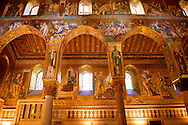 Byzantine mosaics at the Palatine Chapel ( Capella Palatina ) Norman Palace Palermo, Sicily, Italy. .<br /> <br /> If you prefer you can also buy from our ALAMY PHOTO LIBRARY  Collection visit : https://www.alamy.com/portfolio/paul-williams-funkystock/byzantine-art-antiquities.html . Type -    Palatine     - into the LOWER SEARCH WITHIN GALLERY box. Refine search by adding background colour, place, museum etc<br /> <br /> Visit our BYZANTINE MOSAIC PHOTO COLLECTION for more   photos  to download or buy as prints https://funkystock.photoshelter.com/gallery-collection/Roman-Byzantine-Art-Artefacts-Antiquities-Historic-Sites-Pictures-Images-of/C0000lW_87AclrOk