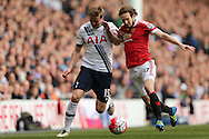 Daley Blind of Manchester United and Eric Dier of Tottenham Hotspur compete for the ball. Barclays Premier league match, Tottenham Hotspur v Manchester Utd at White Hart Lane in London on Sunday 10th April 2016.<br /> pic by John Patrick Fletcher, Andrew Orchard sports photography.
