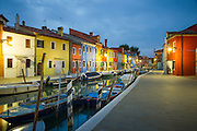 Evening Street scene, Island of Burano, Venice, Italy, Europe