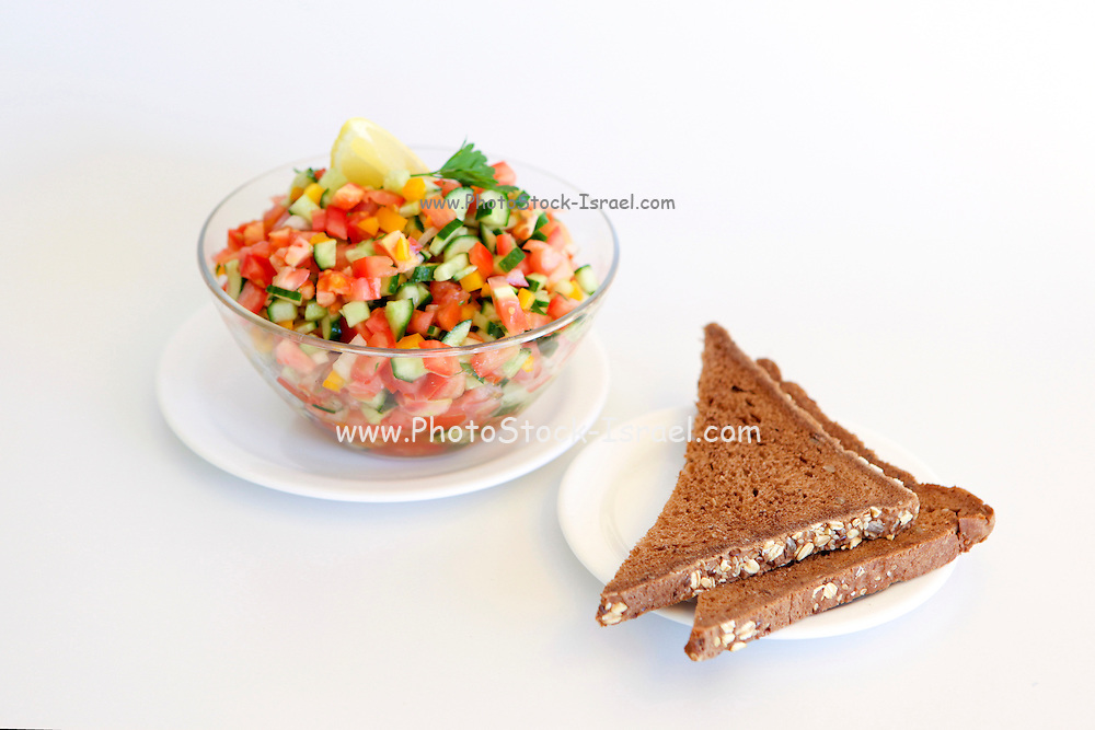 Israeli Salad Tomato and Cucumber with bread