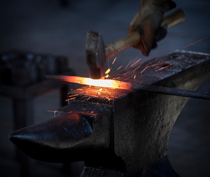 Blacksmith Gilbert Walker works with a forge at the Savannah Railway Museum, Saturday, March 7, 2015, in Savannah, Ga. (Photo/Stephen B. Morton)