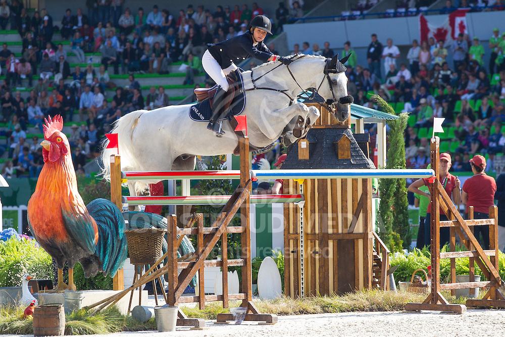 Anna Julia Kontio, (FIN), Fardon - First Round Team Competition Jumping Speed - Alltech FEI World Equestrian Games™ 2014 - Normandy, France.<br /> © Hippo Foto Team - Leanjo De Koster<br /> 03-09-14