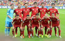 18-06-2014 BRA: World Cup Spanje - Chili, Rio Janeiro<br /> Chili wint met 2-0 van Spanje die door deze uitslag is  uitgeschakeld / 2nd row f.l. Iker goalkeeper Casillas, Sergio Ramos, Xabi Alonso, Javi Martinez, Busquets and Diego Costa, 1st row f.l. Azpilicueta, Pedro, David Silva, Iniesta and Jordi Alba<br /> <br /> *** NETHERLANDS ONLY ***