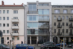 Gentrification of Prenzlauer Berg district in Berlin, new luxury apartment block built between existing buildings in Berlin , Germany