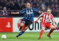 Milano, 23/02/2011<br /> Champions League/Champions League/Inter-Bayern Monaco<br /> Maicon prova l'anticipo su Ribery