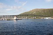Tromso Bridge, cantilever road bridge in the city of Tromso, Norway,