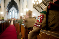 6th Airborne guest at the 1940's Wedding Lytham at Saint John The Divine Church Lytham where reenactors of the Northern World War 2 Association Andy Hacking and Kath Plummer chose to tie the knot surround by family and friends during the Lytham 1940's war weekend.19 August 2011  Image © Paul David Drabble