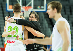 Alen Omic of Slovenia, Klemen Prepelic of Slovenia and dr. Branko Cviticanin celebrate after winning during basketball match between Slovenia vs Netherlands at Day 4 in Group C of FIBA Europe Eurobasket 2015, on September 8, 2015, in Arena Zagreb, Croatia. Photo by Vid Ponikvar / Sportida