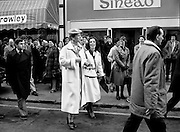 Queen Margrethe II of Denmark (in white coat) goes shopping on Grafton Street, Dublin.<br />