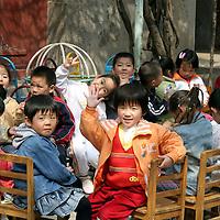 Asia, China, Beijing. Chinese kindergarten class in Hutongs of Beijing.