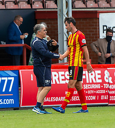31JUL21 Partick Thistle's manager Ian McCall and scorer Partick Thistle's Brian Graham at the end. Partick Thistle 3 v 2 Queen of the South. First Scottish Championship game of the season.