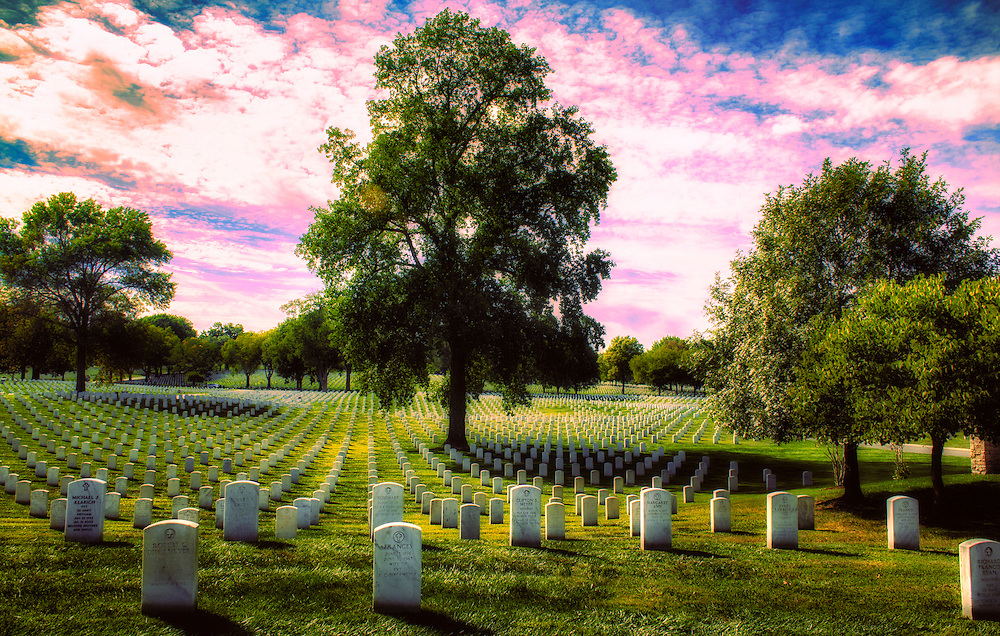 Sweet Candy Colored Skies Over Jefferson Barracks Memorial Cemetery in Missouri