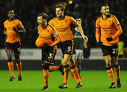 Barry Douglas of Wolverhampton Wanderers celebrates with his team mates after making 2-0 - Mandatory by-line: Nizaam Jones/JMP - 02/01/2018 - FOOTBALL - Molineux - Wolverhampton, England- Wolverhampton Wanderers v Brentford -Sky Bet Championship