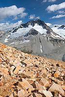 Mount Ethelweard 2819 m (9249 ft) seen from the slopes of Ochre Mountain, Coast Mountains British Columbia Canada