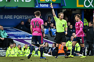 Queens Park Rangers Midfielder, Ryan Manning (14) shown a yellow card during the The FA Cup fourth round match between Portsmouth and Queens Park Rangers at Fratton Park, Portsmouth, England on 26 January 2019.