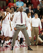 Nov 15, 2013; Fayetteville, Ar, USA; Arkansas Razorback head coach Mike Anderson reacts to a play during the second half of a game against the Louisiana-Lafayette Ragin' Cajuns at Bud Walton Arena Arena. Arkansas defeated Louisiana-Lafayette 76-63.  Mandatory Credit: Beth Hall-USA TODAY Sports