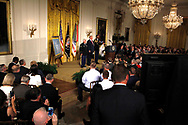 President Donald Trump presenting the Medal of Honor to former Specialist Five James C. McCloughan, U.S. Army.in the East Room of the White House on July 31, 2017<br />Photo by Dennis Brack