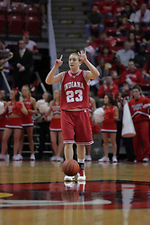 29 March 2009: Jamie Braun lets the ball dribble itself as she comes up court calling a play. The Hoosiers of Indiana fall to the Redbirds of Illinois State 66-55 during a Women's National Invitational quarterfinal game on Doug Collins Court inside Redbird Arena in Normal Illinois.