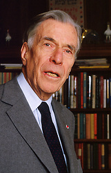 Apr 29, 2006; Cambridge, MA, USA; FILE PHOTO: 1996; JOHN KENNETH GALBRAITH, 97, noted economist and Harvard University professor died of natural causes at Mount Auburn Hospital in MA, April 29th, 2006. Born in Canada, Galbraith served as adviser to Democratic presidents from Franklin D. Roosevelt to Bill Clinton, and was John F. Kennedy's ambassador to India. Also an author, Galbraith wrote his last book after turning 80 called 'Name-Dropping: From FDR On.' Some of his other books published were 'The Great Crash,' 'The Culture of Contentment,' 'Almost Everyone's Guide to Economics,' and 'The Affluent Society.' FILE PHOTO: 1996; Galbraith at his Cambridge, Massachusetts home 1996 (Credit Image: © Michael Quan/ZUMAPRESS.com)