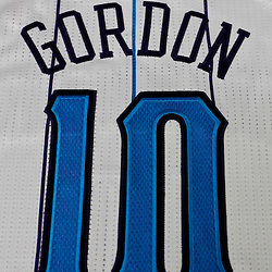 December 17, 2011; New Orleans, LA, USA; A detailed view of the jersey of New Orleans Hornets guard Eric Gordon (10) at a press conference to introduce players acquired from the Los Angeles Clippers in the Chris Paul trade prior to team scrimmage at the New Orleans Arena.   Mandatory Credit: Derick E. Hingle-US PRESSWIRE