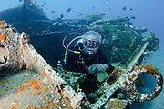 Divers at a sunken tank off the cost of Aqaba, Red Sea Jordan
