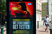 HM Government, and NHS advertising boards advice to stay alert to the symptoms as the Coronavirus lockdown continues, the city centre is still very quiet while more traffic and people are returning, and with restrictions due to be relaxed further in the coming days, the quiet city may be coming to an end as businesses are set to start to reopen soon on 27th May 2020 in Birmingham, England, United Kingdom. Coronavirus or Covid-19 is a respiratory illness that has not previously been seen in humans. While much or Europe has been placed into lockdown, the UK government has put in place more stringent rules as part of their long term strategy, and in particular social distancing.