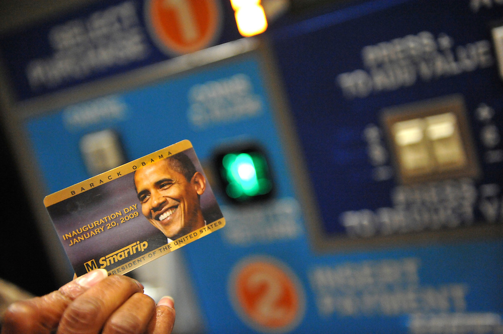Commemorative fare cards were issued by the Metro Transit Authority at the Shady Grove, Maryland Metro stop at 5:30am on the day of Barack Obama's historic Presidential inauguration.  An estimated two million people flocked to Washington D.C. for the ceremony, enduring freezing temperatures to witness Obama take the oath of office becoming the first African-American to become President, the 44th in the history of the United States of America.