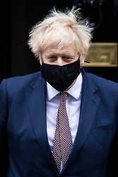 © Licensed to London News Pictures. 26/11/2020. London, UK. Prime Minister Boris Johnson leaves 10 Downing Street after self-isolating for fourteen days. The Prime Minister had to isolate after meeting with an MP who later tested positive for Coronavirus. Photo credit: Rob Pinney/LNP