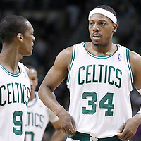 12 May 2012: Boston Celtics point guard Rajon Rondo (9) talks to Boston Celtics small forward Paul Pierce (34) during the Boston Celtics 92-91 victory over the Philadelphia Sixers, in Game 1 of the Eastern Conference semifinals playoff series, at the TD Banknorth Garden, Boston, Massachusetts, USA.