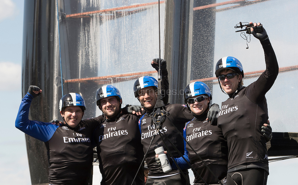 NEW YORK, NY - MAY 08:  Emirates Team New Zealand skippered by Glenn Ashby with helmsman Pete Burling. Teammates Ray Davies, Blair Tuke, Guy Eden. Celebrate winning the Louis Vuitton America's Cup World Series Racing on May 8, 2016 on the Hudson River in New York City.  <br /> (Photo by Lloyd Images/Getty Images)