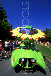 Stock photo of the giant sunflower car