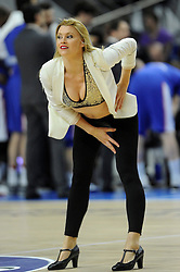 15.04.2015, Palacio de los Deportes stadium, Madrid, ESP, Euroleague Basketball, Real Madrid vs Anadolu Efes Istanbul, Playoffs, im Bild Real Madrid´s cheerleader dancing // during the Turkish Airlines Euroleague Basketball 1st final match between Real Madrid vand Anadolu Efes Istanbul t the Palacio de los Deportes stadium in Madrid, Spain on 2015/04/15. EXPA Pictures © 2015, PhotoCredit: EXPA/ Alterphotos/ Luis Fernandez<br /> <br /> *****ATTENTION - OUT of ESP, SUI*****