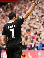 Luis Suarez waves goodbye to the Anfield crowd - Photo mandatory by-line: Dougie Allward/JMP - Mobile: 07966 386802 - 29/03/2015 - SPORT - Football - Liverpool - Anfield Stadium - Gerrard's Squad v Carragher's Squad - Liverpool FC All stars Game